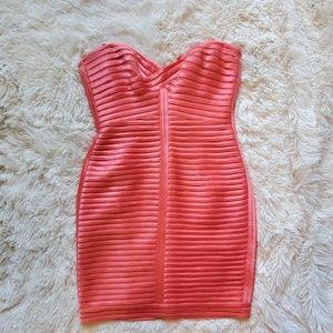 Strapless BCBGMaxAzria Salmon Dress